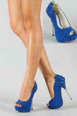5be0e13e421b Shoehorne Parker - Womens Royal Blue Suede Hidden Platform Peeptoe High  Heeled Court Shoes w  Metallic Petal Shape Heel - Avail in Ladies Size 3-8  UK  ...