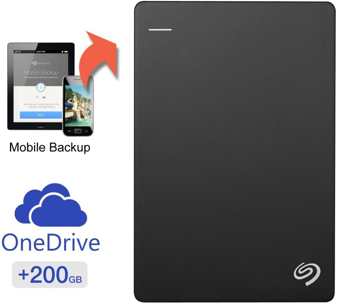 Seagate Backup Plus Slim 2 Tb Wired External Hard Disk Drive With 200 Gb Cloud Storage