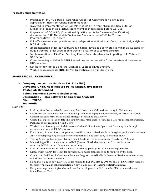 Resume Of Sap Mm Books 2018 Photographers - Submission specialist