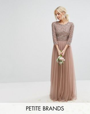 b49dcbe238220b Maya Petite 3/4 Sleeve Maxi Dress With Delicate Sequin And Tulle Skirt |  ASOS