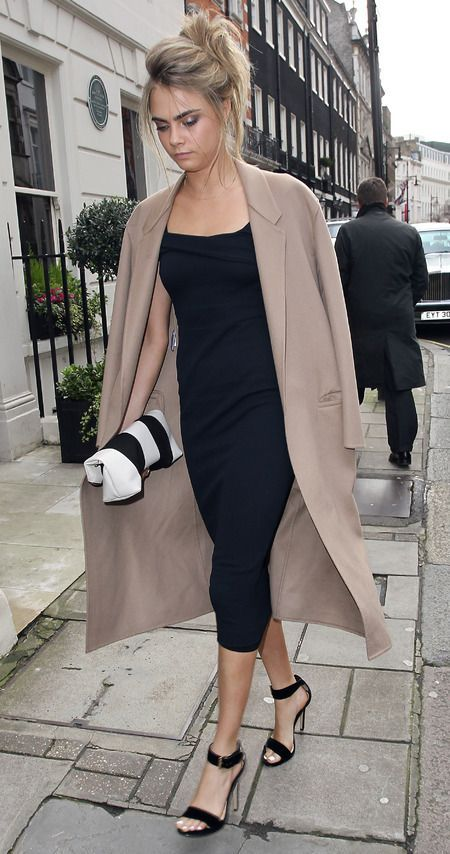 Cara Delevingne Wearing Beige Coat Black Midi Dress Suede Heeled Sandals White And Leather Clutch