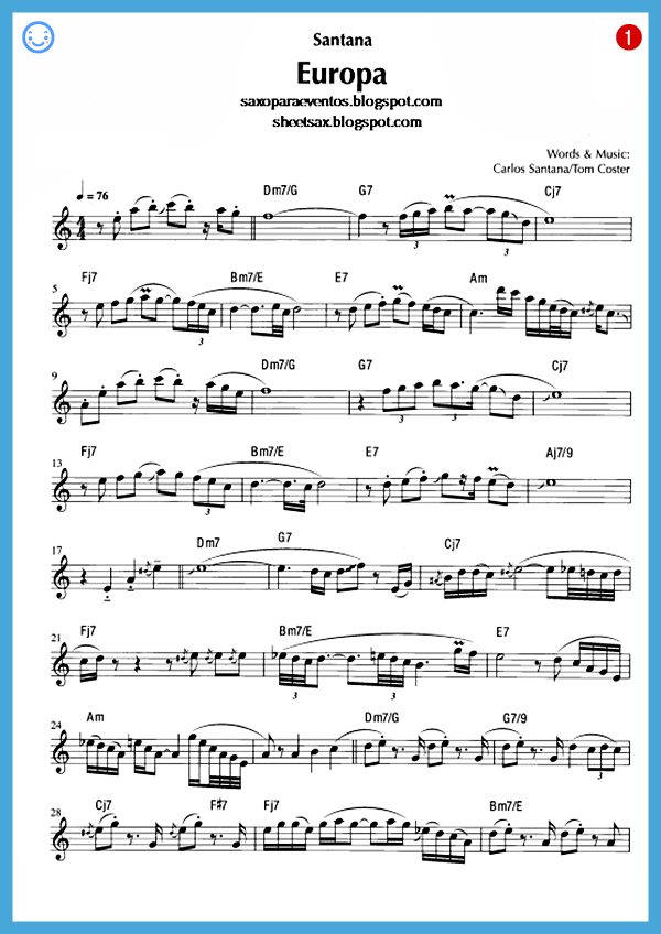 Free Sheet Music For Sax Europa Santana Score And Playalong