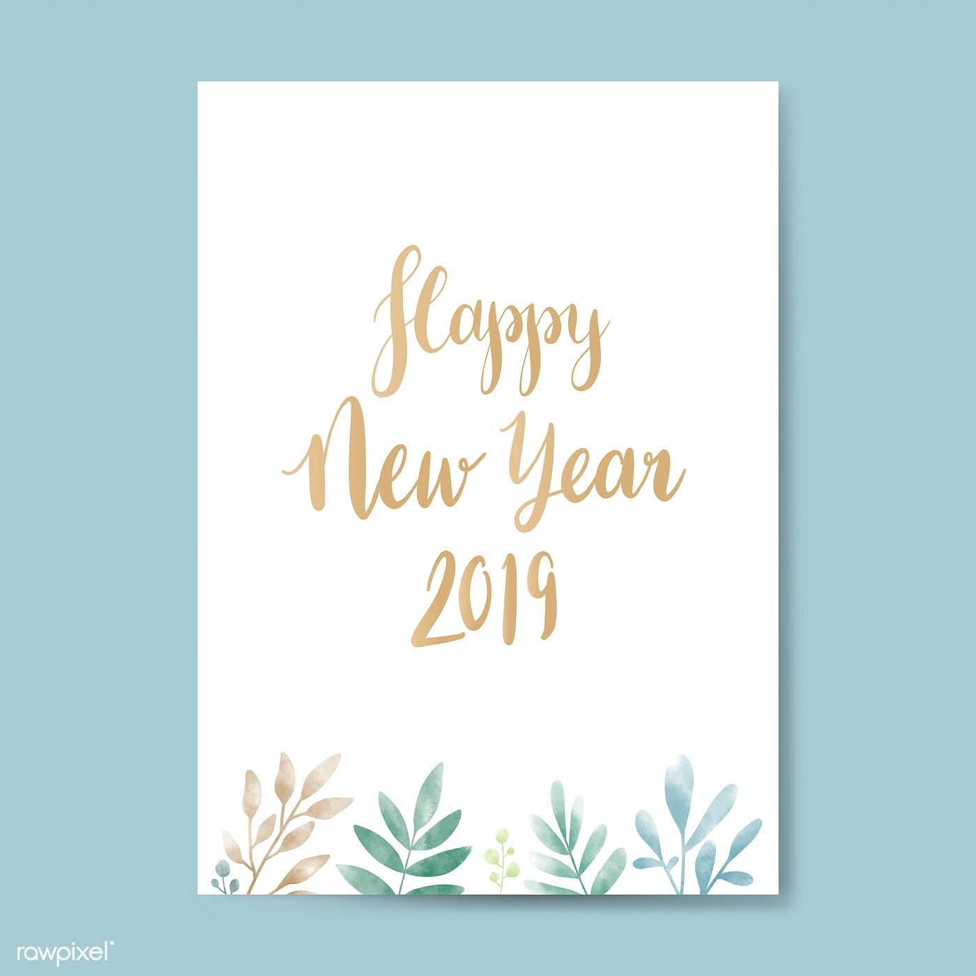 Download Premium Vector Of Happy New Year 2019 Watercolor Card