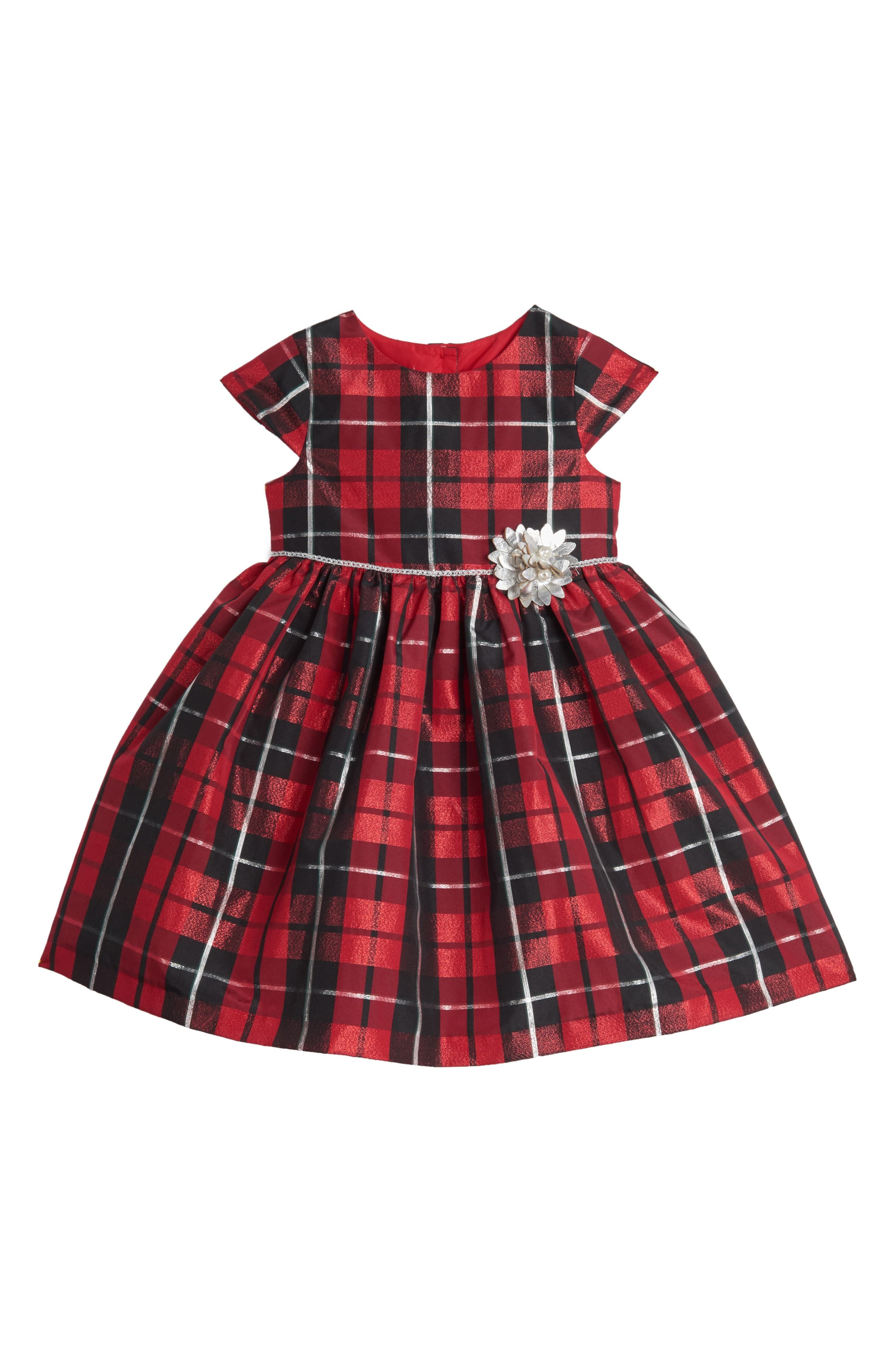 Infant Girl's Pippa & Julie Plaid Party Dress, Size 0-3M - Red #babygirlpartydresses