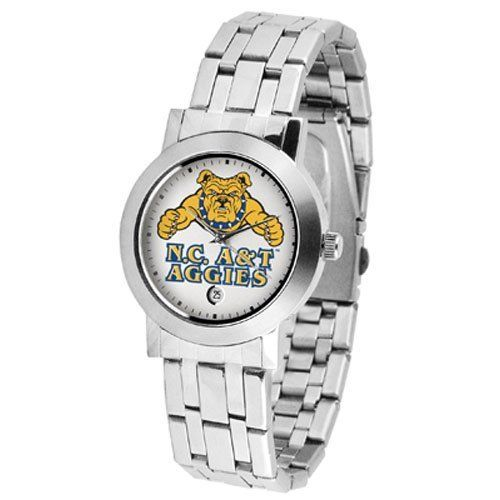 """North Carolina A&T State Aggies NCAA """"Dynasty"""" Mens Watch by SunTime. $84.60. Scratch Resist Face. Stainless Steel Case. Date Display. Elegant design for the modern man or woman who wants to show their team spirit! The dial is presented in a sleek, stainless steel case and bracelet that rests fashionably yet comfortably across the wrist. Features a convenient date display, quartz accurate movement and a scratch resistant mineral crystal face.. Save 10% Off!"""