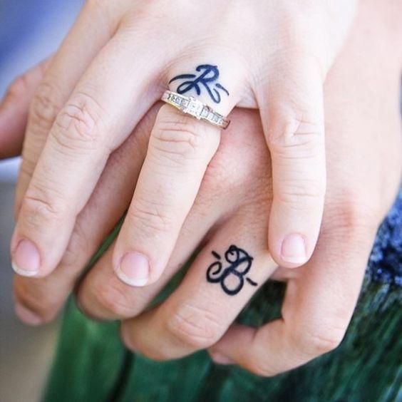 Wedding Band Tattoo With Initials Tattoos Pinterest Wedding