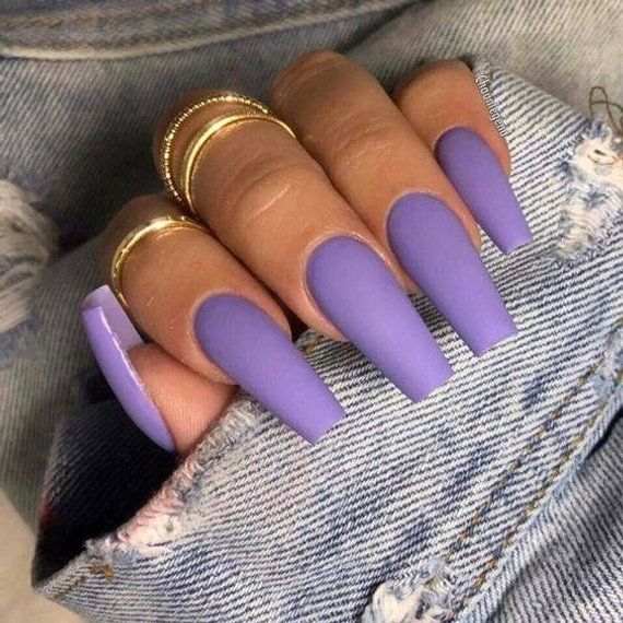 20 Pieces Lavender Press On Coffin Nails in 2019