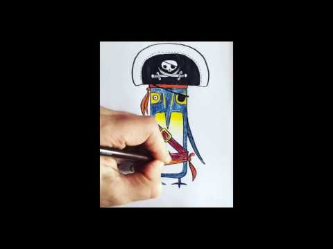 Rob Biddulph: How to draw a pirate penguin - YouTube