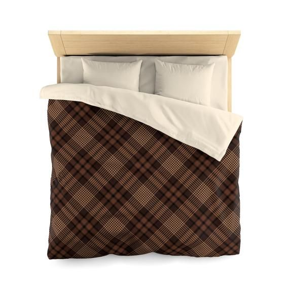 This Neutral Brown And Black Plaid Duvet Cover Will Brighten Up Your Bedroom Pair It With Coordinating She Brown Duvet Covers Luxury Bedding Duvet Covers Twin