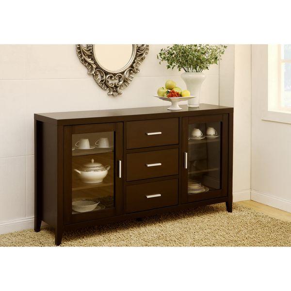 Furniture Of America Metropolitan Dining Buffet TV Cabinet In Dark Espresso Expresso Tan