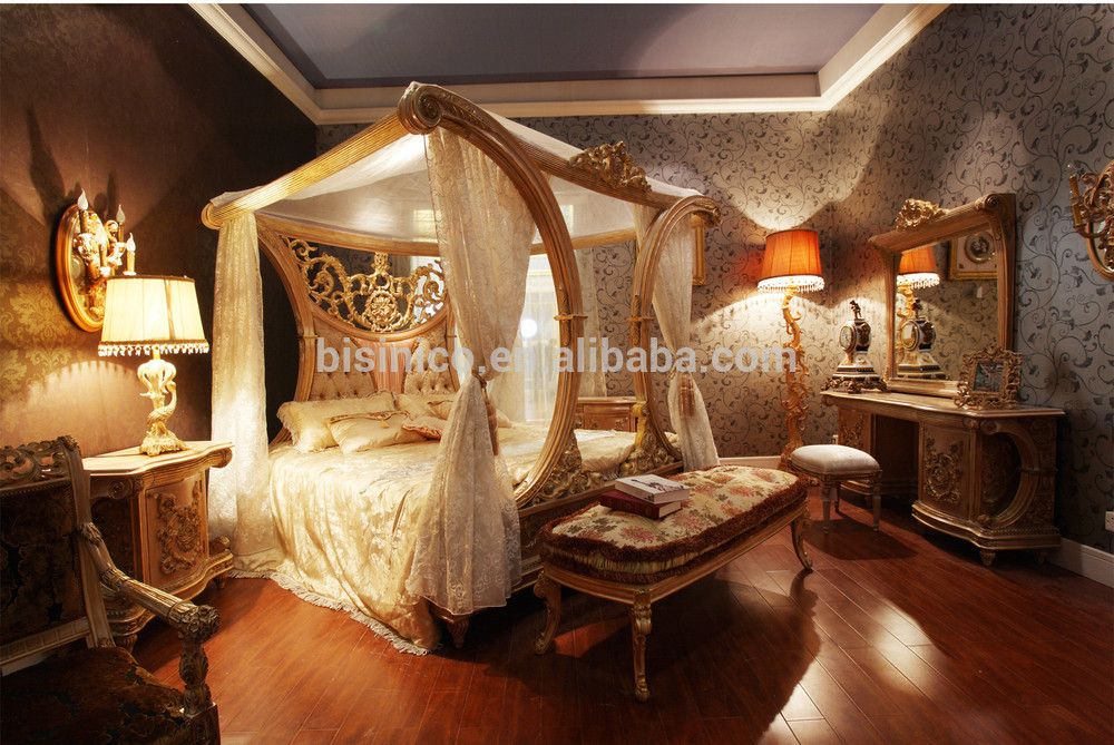 Luxury french rococo style wood carved marquetry canopy - Four poster king size bedroom sets ...