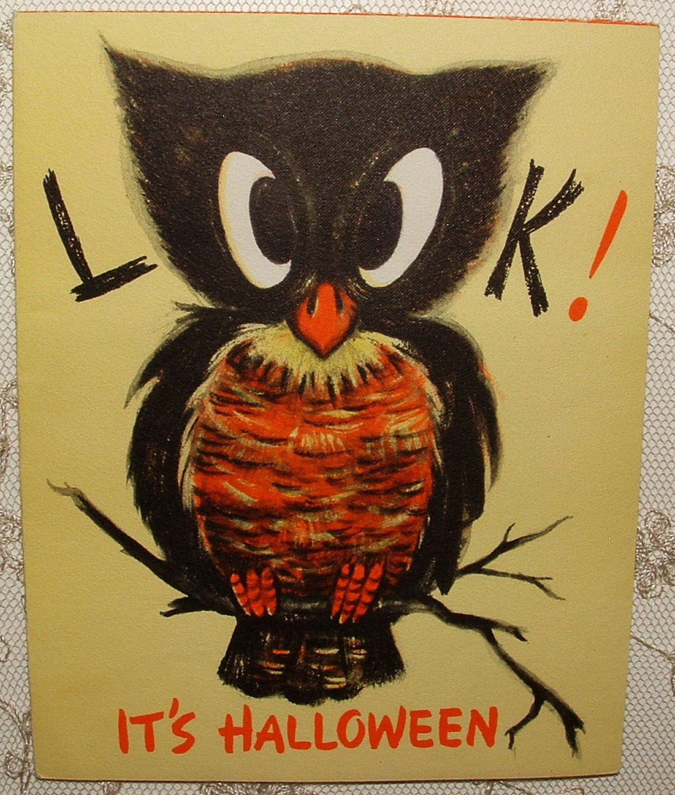 awesome halloween owl 50s vintage hallmark halloween greeting card ebay