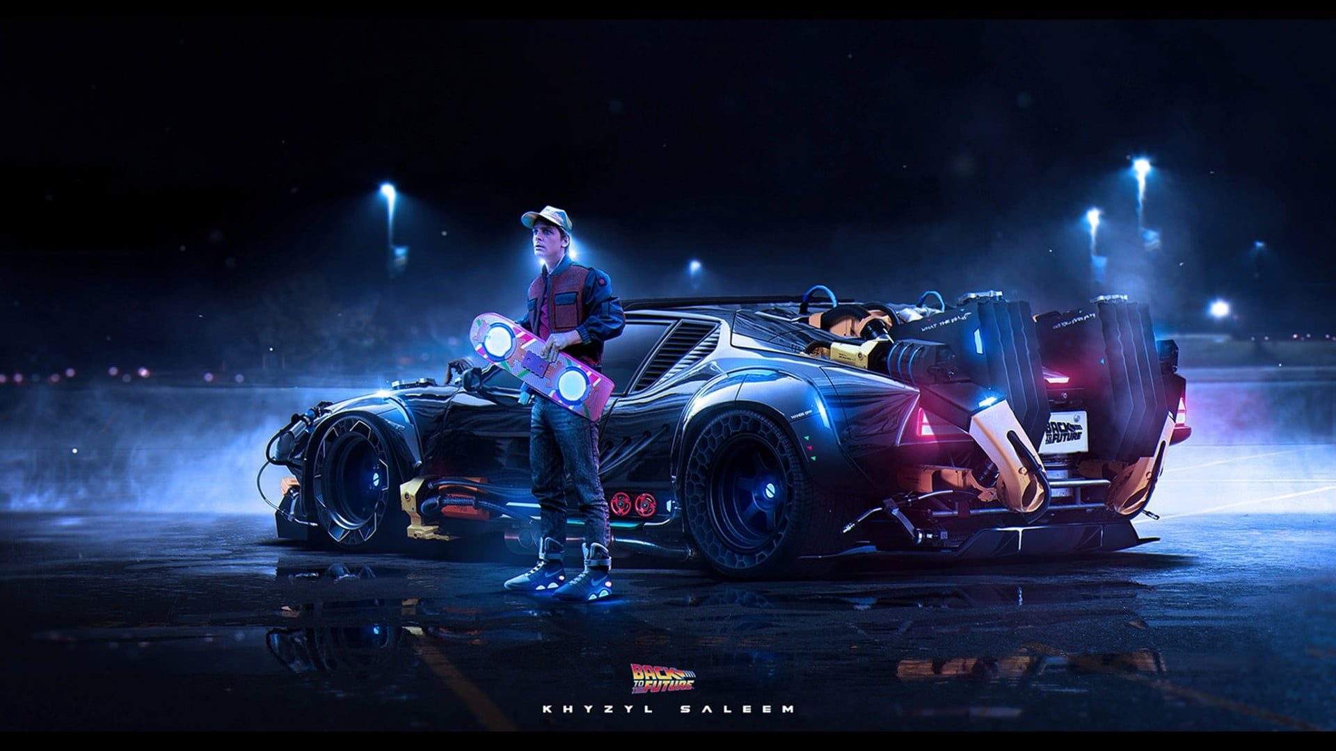 Black Vehicle Back To The Future Artwork Digital Art Car Dark
