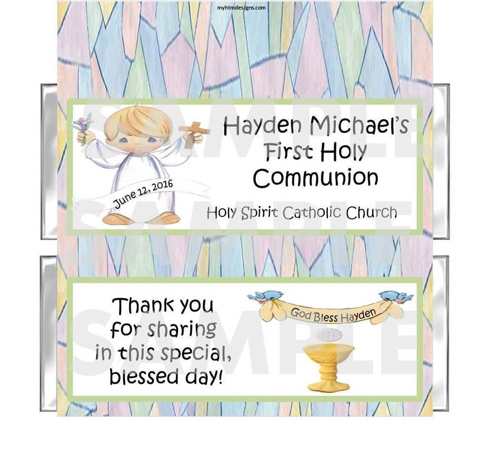 Personalized PRECIOUS MOMENTS First 1st Communion candy bar ...