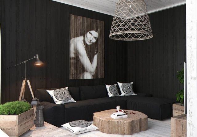 Wohnzimmer Modern Einrichten Schwarze Wandfarbe Echtholz Couchtisch Industrie Chic