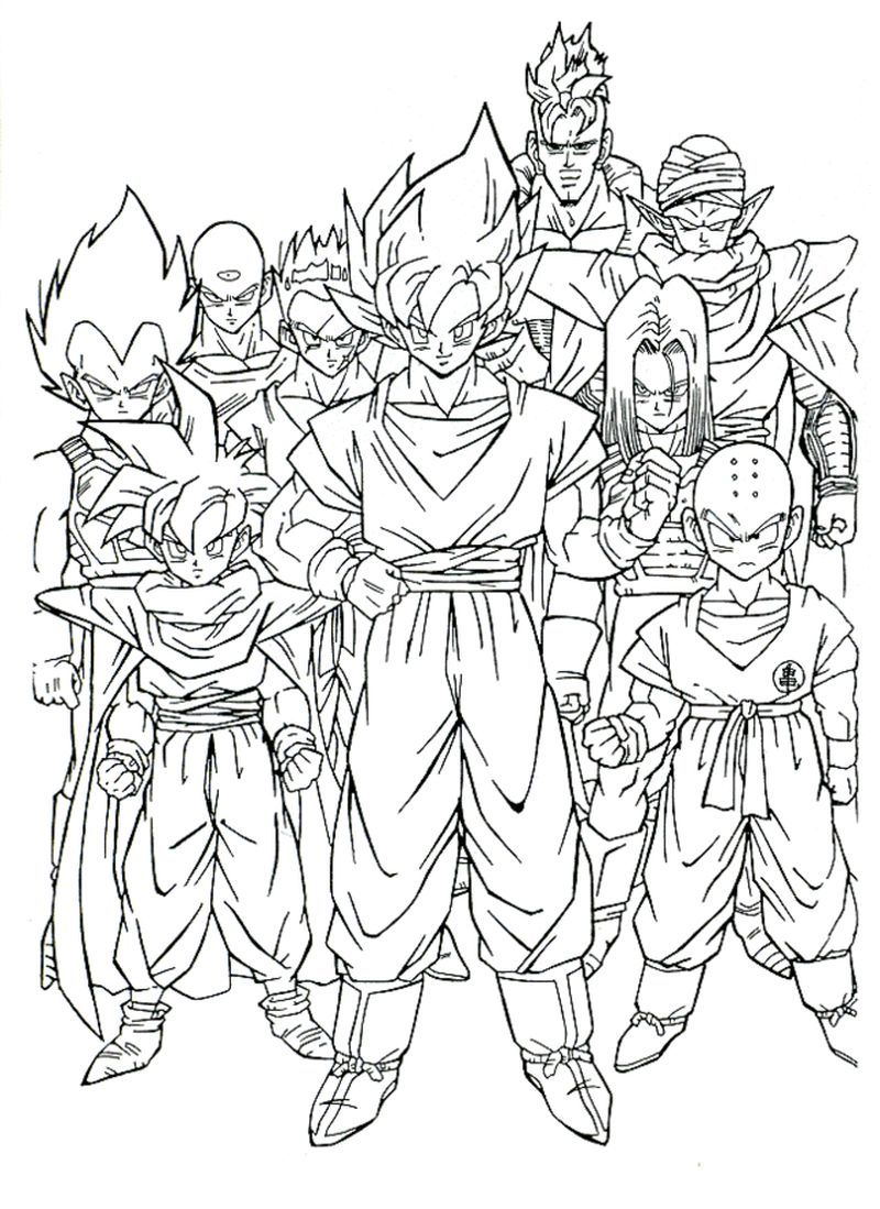 Cell Saga Z Fighters Dragon Ball Z In 2020 Dragon Coloring Page Super Coloring Pages Cartoon Coloring Pages