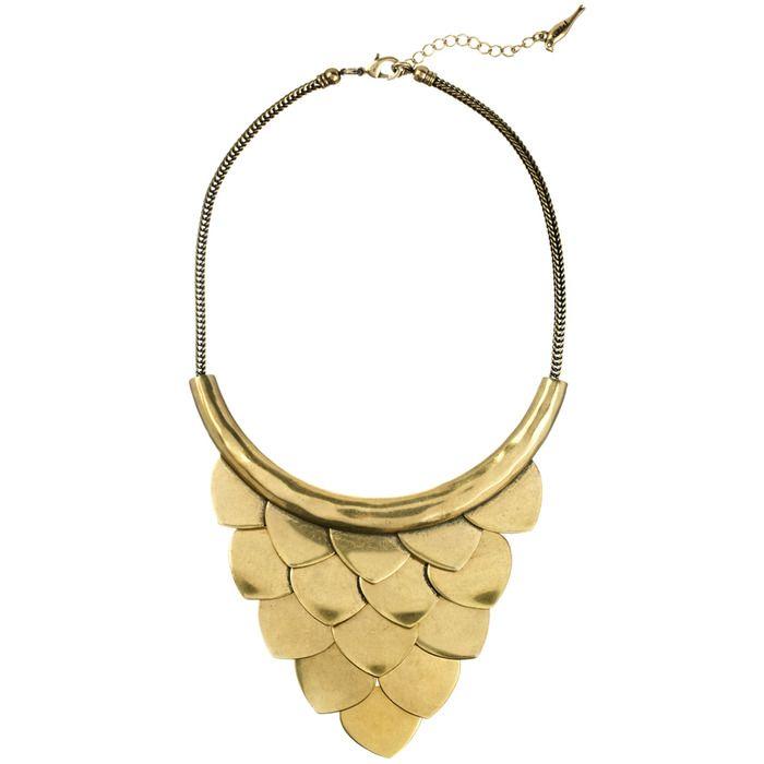 Layered Scales Metal Bib Necklace $98