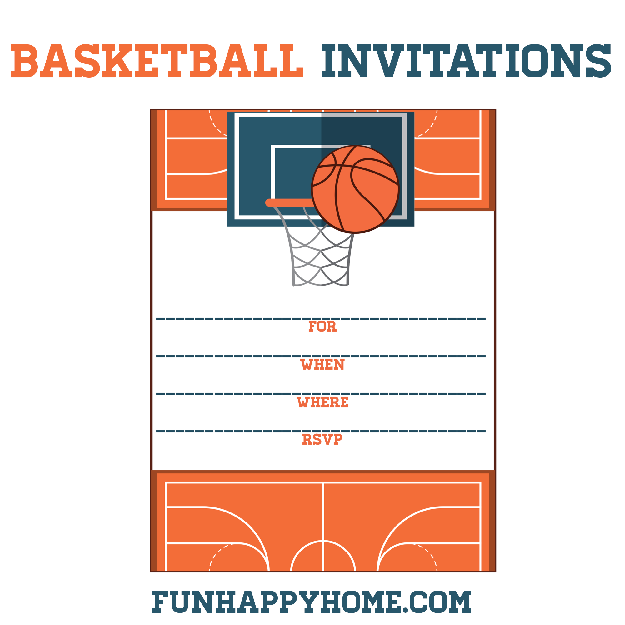 FREE Printable Basketball Themed Party Invitations MarchMadness