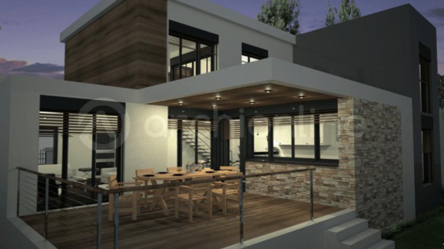 Pingl par perle praline sur deco exterieure house house design et house plans for Idee maison toit plat
