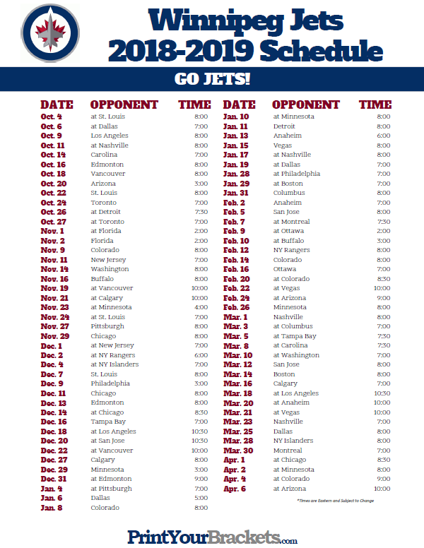 photo regarding Detroit Red Wings Printable Schedule named Printable 2018-2019 Winnipeg Jets Hockey Agenda