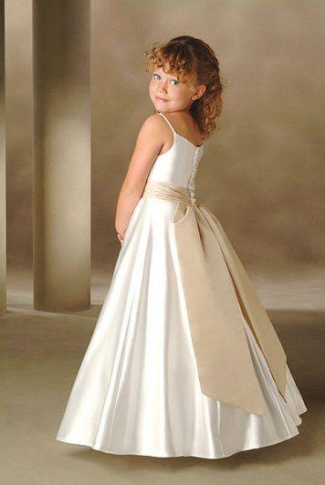 Vestido Color Perla Con Laza Oro Viejo Vestidos Para Niñas