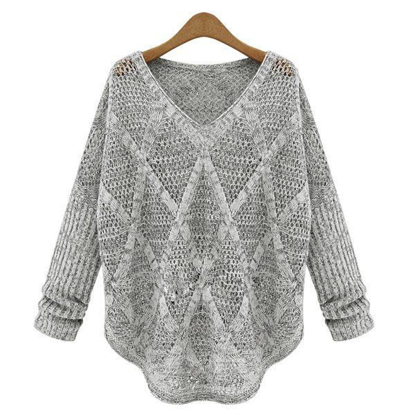 Solid Color Hollow Out Design Long Sleeve V-Neck Women s Sweater ... a3fe0ab8ff18
