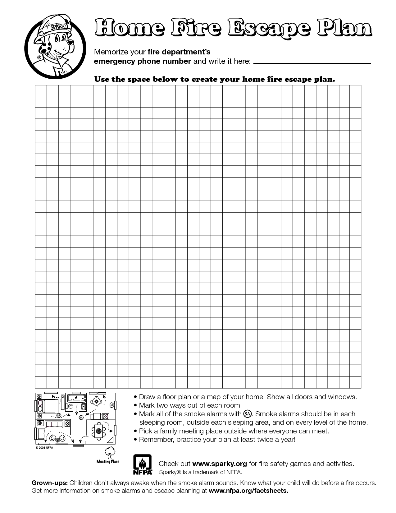 Home Fire Escape Plan Template  Education    Fire