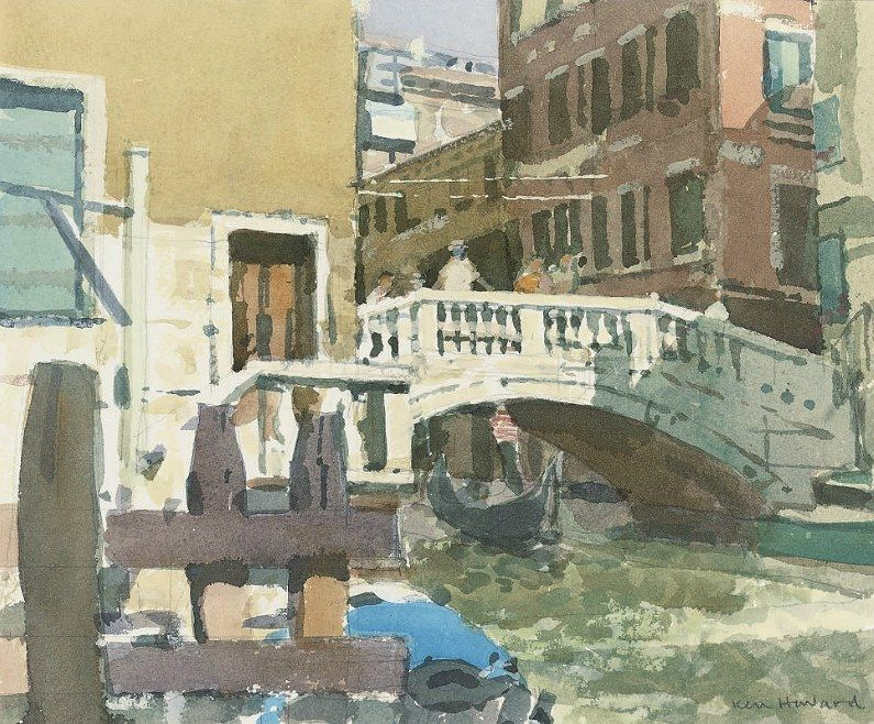 Ken Howard R A B 1932 Uk Gondola Venice Watercolour And Bodycolour 9 X 11 In 24 1 X 29 2 Cm Venise