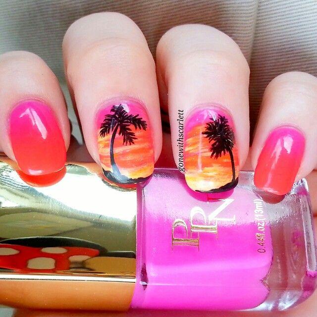City sunset nail art | Nail art, Sunset nails, Nails