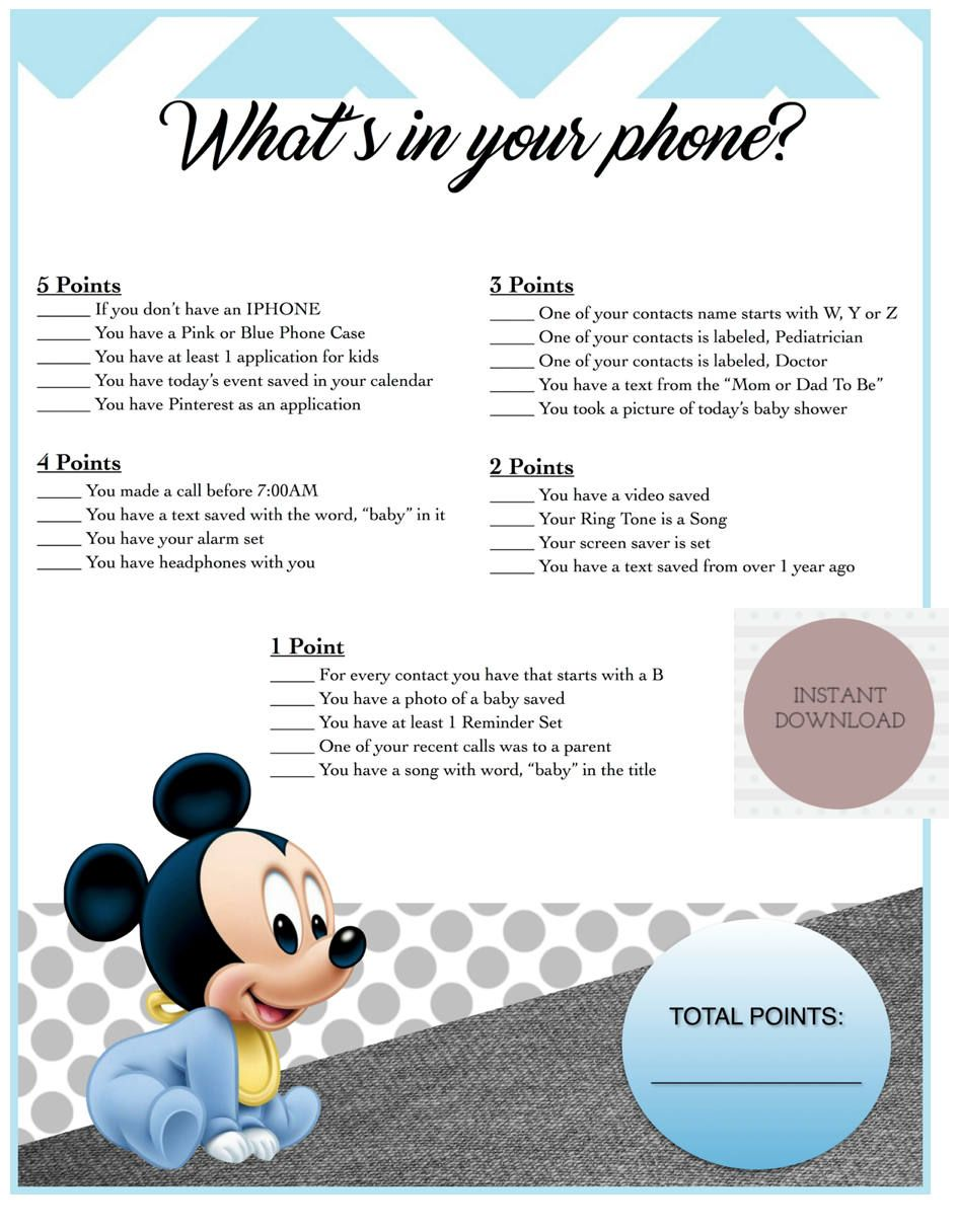 Baby Shower Game-Whats in your phone? | Mickey Mouse Theme | Pinterest