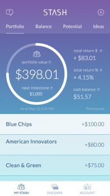 Stash Invest app uses a cool color scheme. In this case