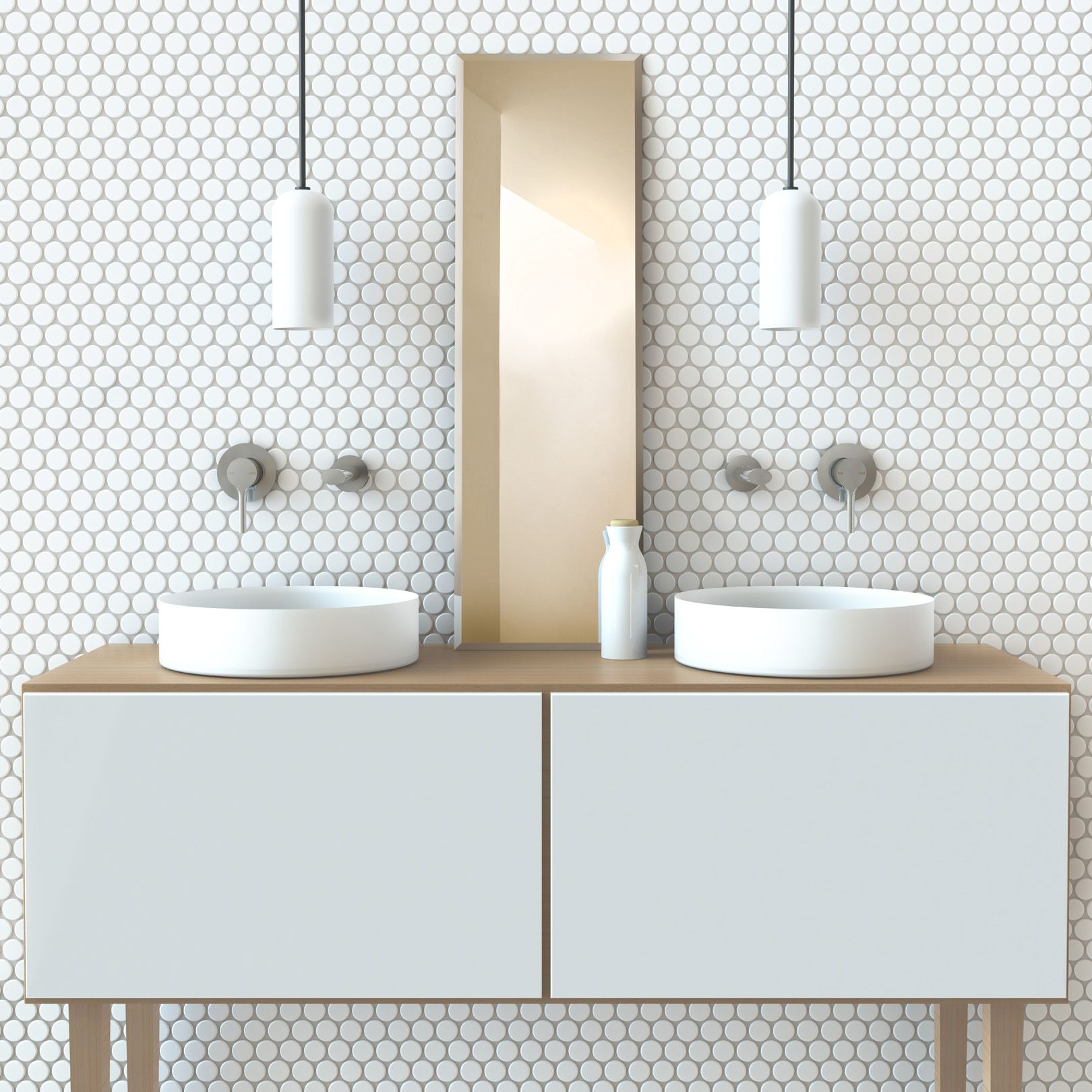 Featured in this neat little bathroom set-up is the Vivid Slimline ...