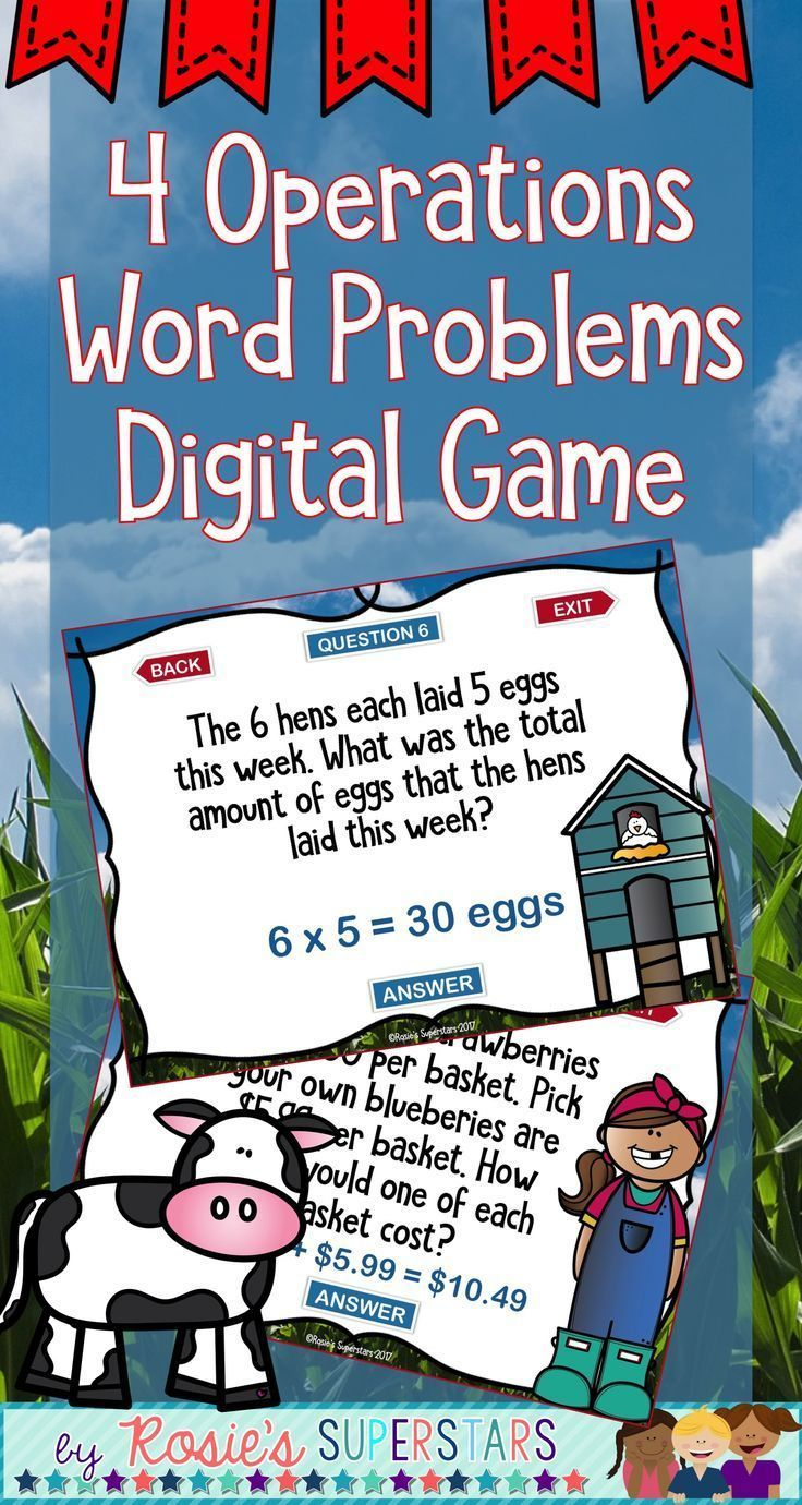 Mixed Operations One Step Word Problems Digital Game | Pinterest ...