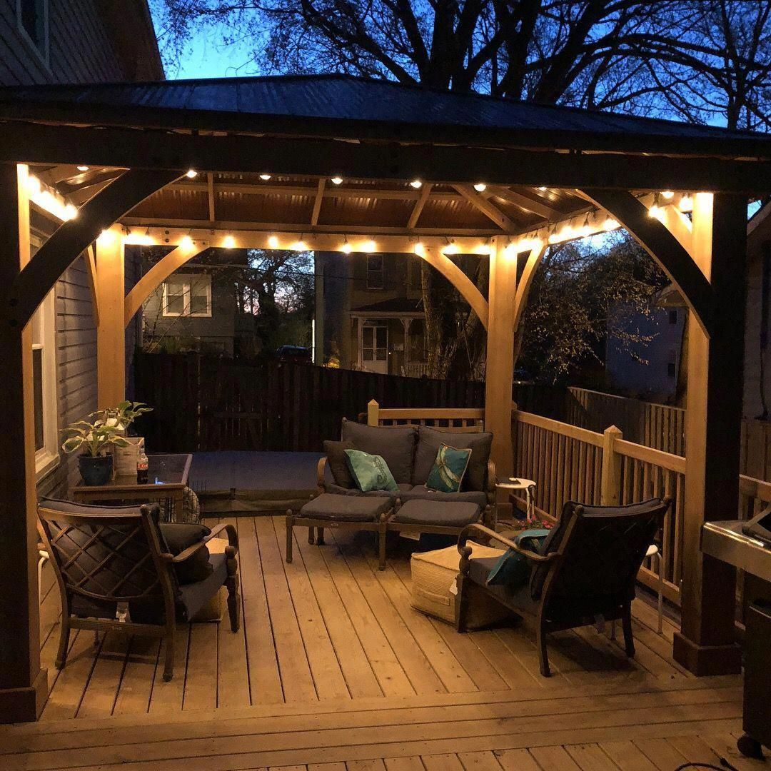 New Costco Yardistry Gazebo On Our New Deck With Led Outdoor Lights From Costco And A Fan So Happy With How It Turne Patio Gazebo Backyard Gazebo Patio Design