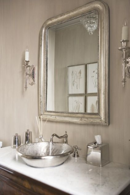 eclectic powder room by Linda McDougald Design | Postcard from Paris Home