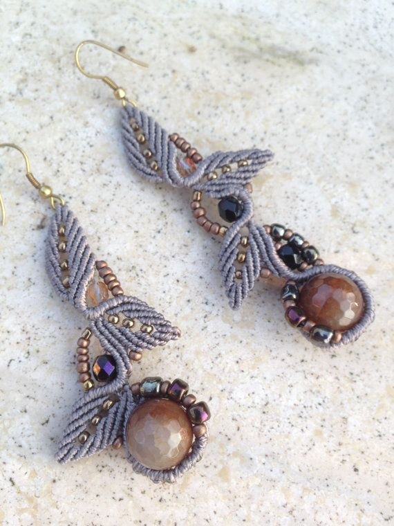 Micromacrame leaf earrings with brown agate. Pixie fairy jewelerie. Elegant micromacrame assimetric earrings.OOAK
