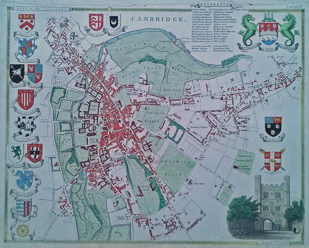 Historical map of Cambridge by Thomas Moule Seths Birthday 2017
