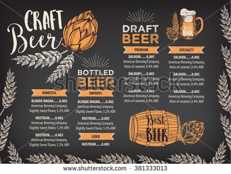 Beer restaurant brochure vector, alcohol menu design Vector bar - bar menu template
