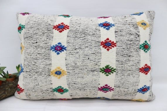 Turkish Kilim Pillow, 16x24 Natural Pillow, Covers Pillow, White Pillow, Wholesale Pillow, Patterned