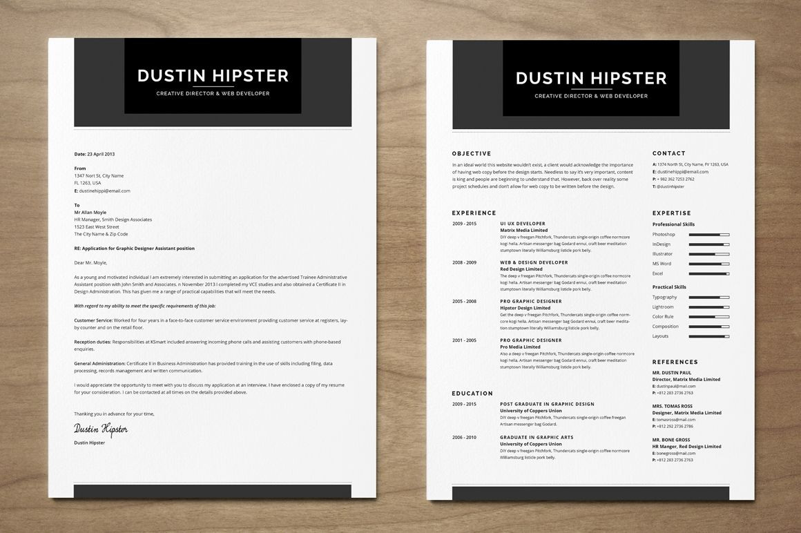 Resume Cv Set The Hipster By Snipescientist On Creativemarket Cv Template Resume Funny Business Cards