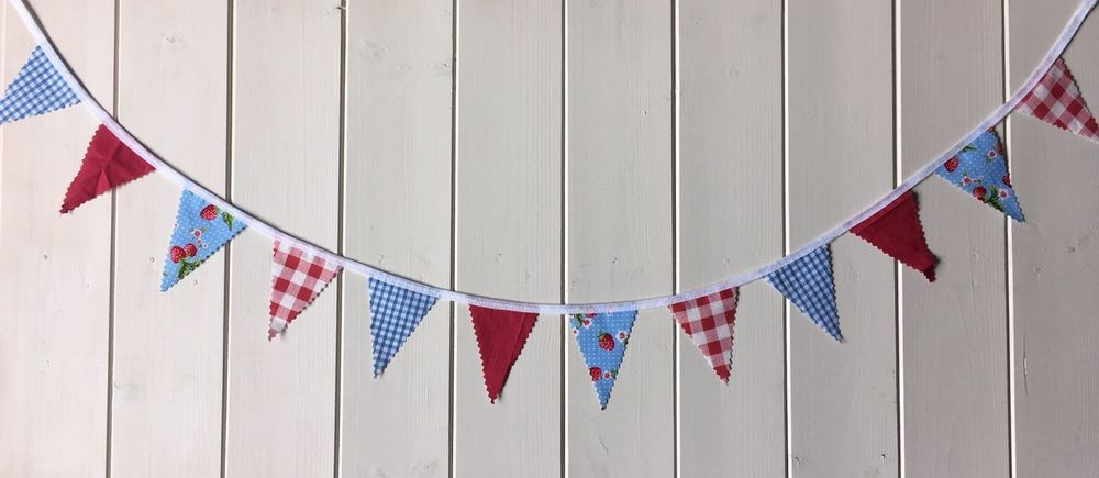 1m Length Handmade Mini Bunting in Red Gingham, Blue Gingham & Strawberry Fabric  | eBay