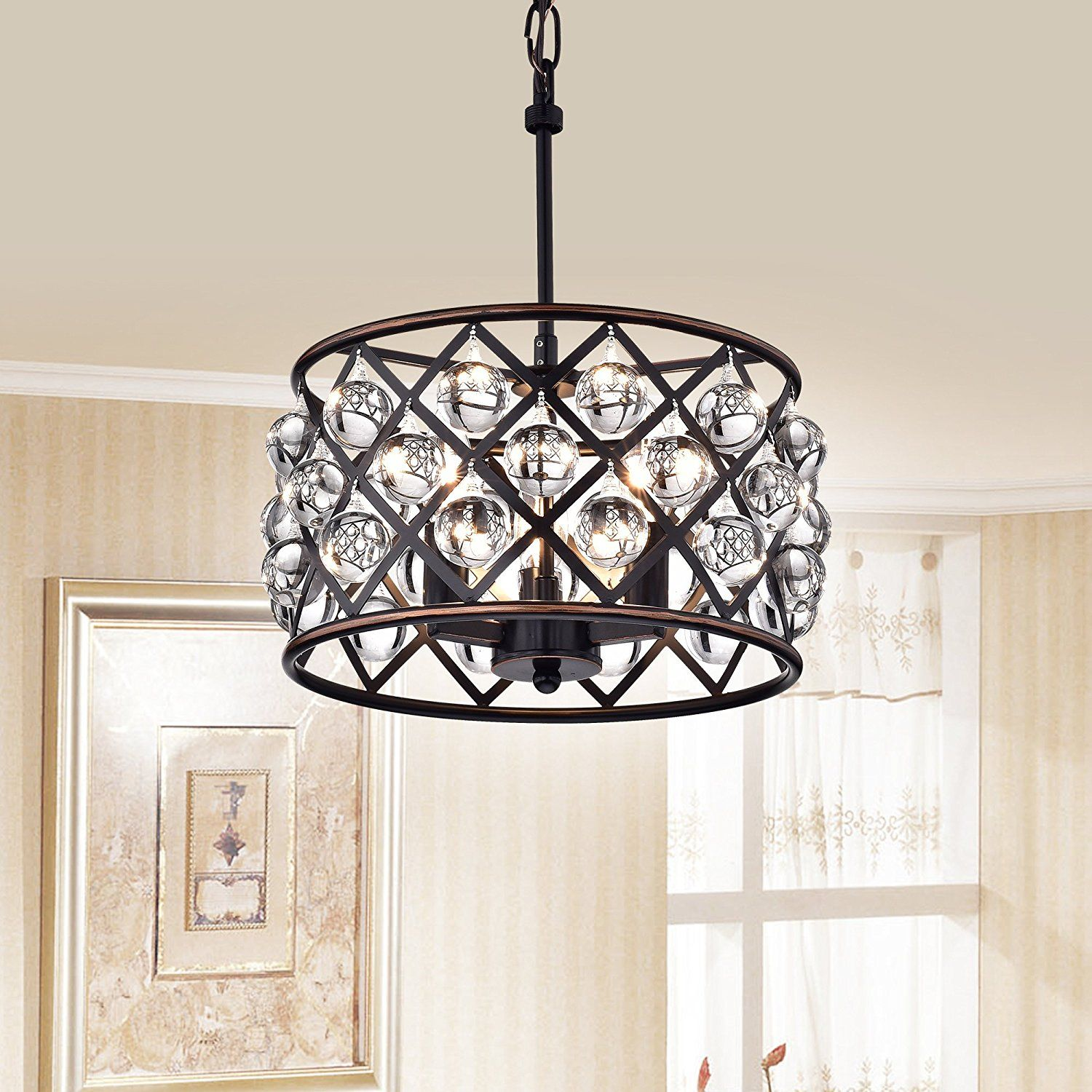 azha small 3 light crystal drum pendant chandelier oil rubbed bronze rh pinterest com