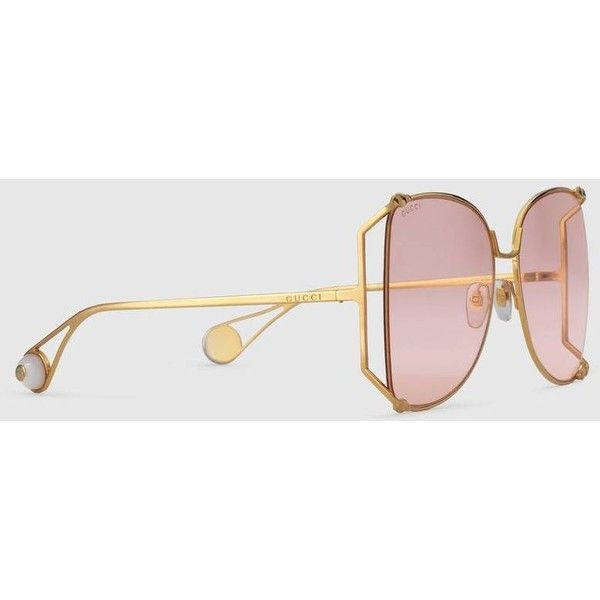 4afb2cf40da Gucci Oversize Round-Frame Metal Sunglasses ( 525) ❤ liked on Polyvore  featuring accessories