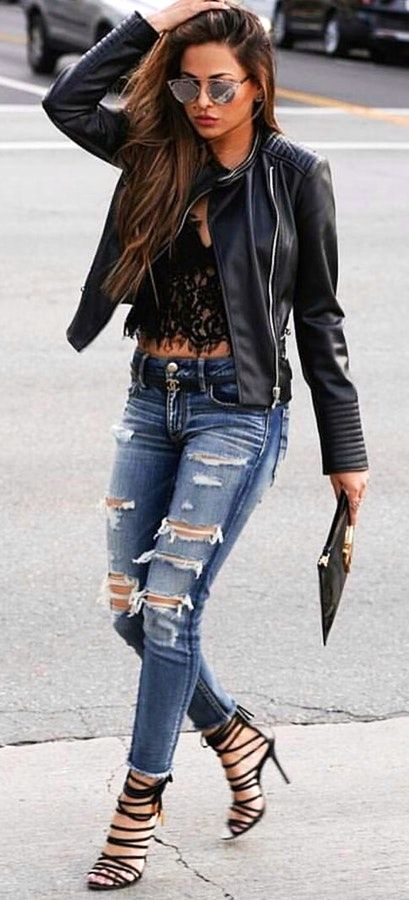 summer  outfits Black Leather Jacket + Black Lace Top + Ripped Skinny Jeans 2ac1f03e1b