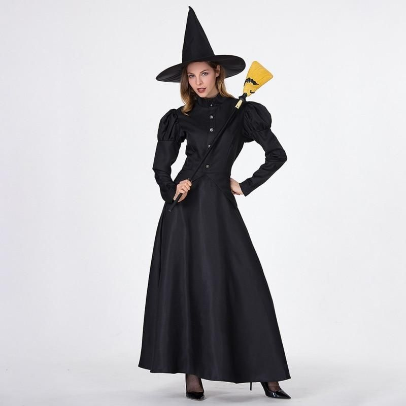 Cosplay costume masquerade adult black magic witch dress