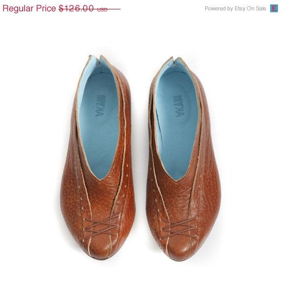 4th of July sale women flats brown shoes by MYKAshop on Etsy, $107.10