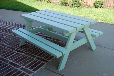 Craftyc0rn3r A Picnic Table For The Kids Kids Picnic Table Picnic Table Painted Picnic Tables