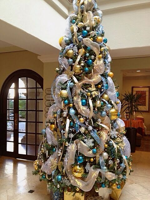 tiffany blue gold christmas tree