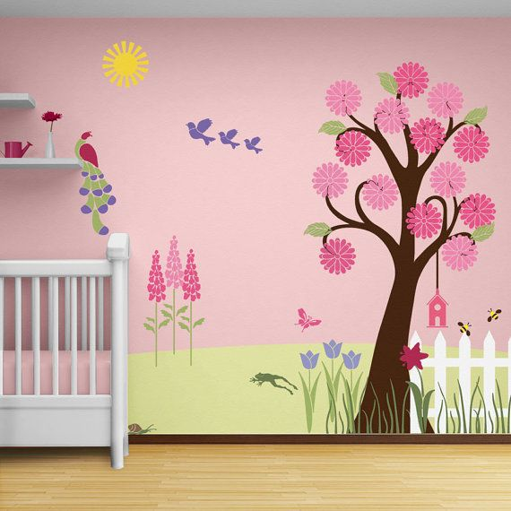Flower Garden Wall Mural Stencil Kit For S By Mywallstencils 99