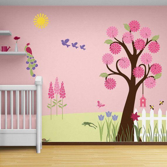 Perfect Girl Nursery Stencils For Walls | Flower Garden Wall Mural Stencil Kit Baby  Or By MyWallStencils Good Ideas